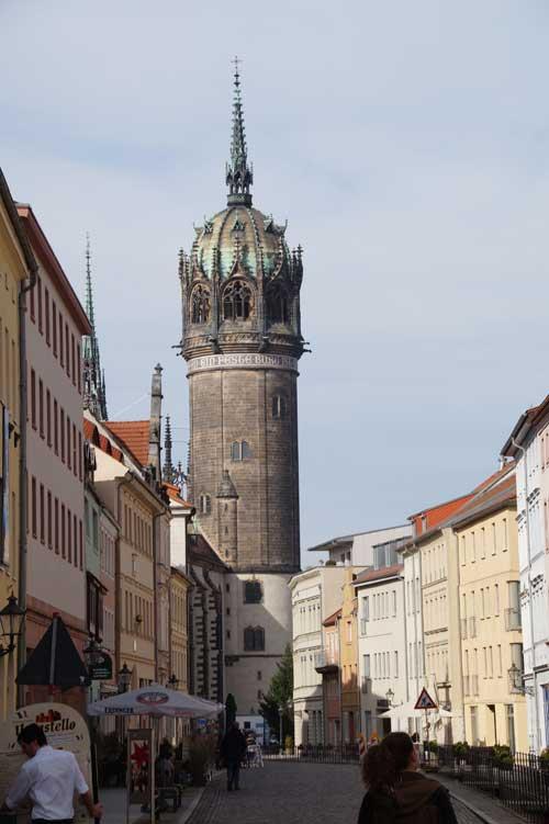 Kirchturm der Schlosskirche in Lutherstadt Wittenberg