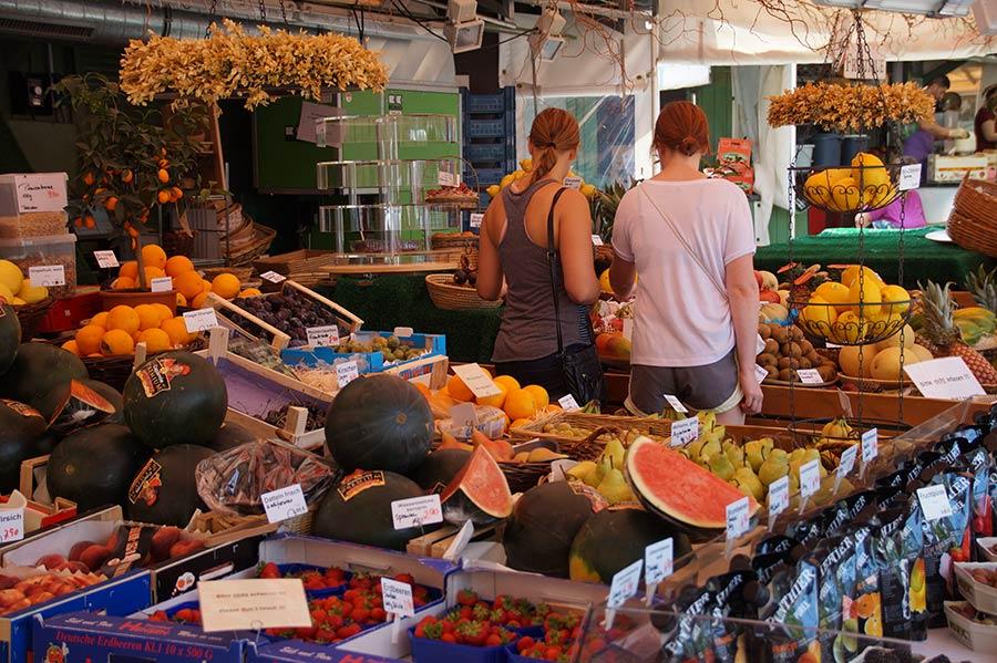 Viktualienmarkt in der Altstadt von München