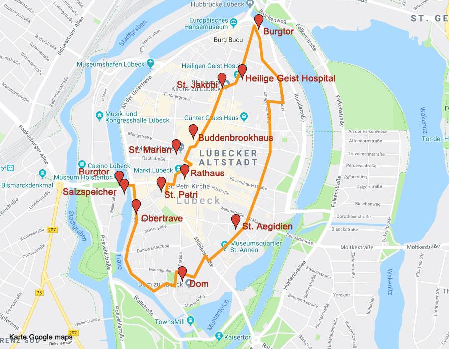 Karte Lübeck.Sehenswürdigkeiten In Lübeck Ein Rundgang Zu Den Sehenswürdikeiten