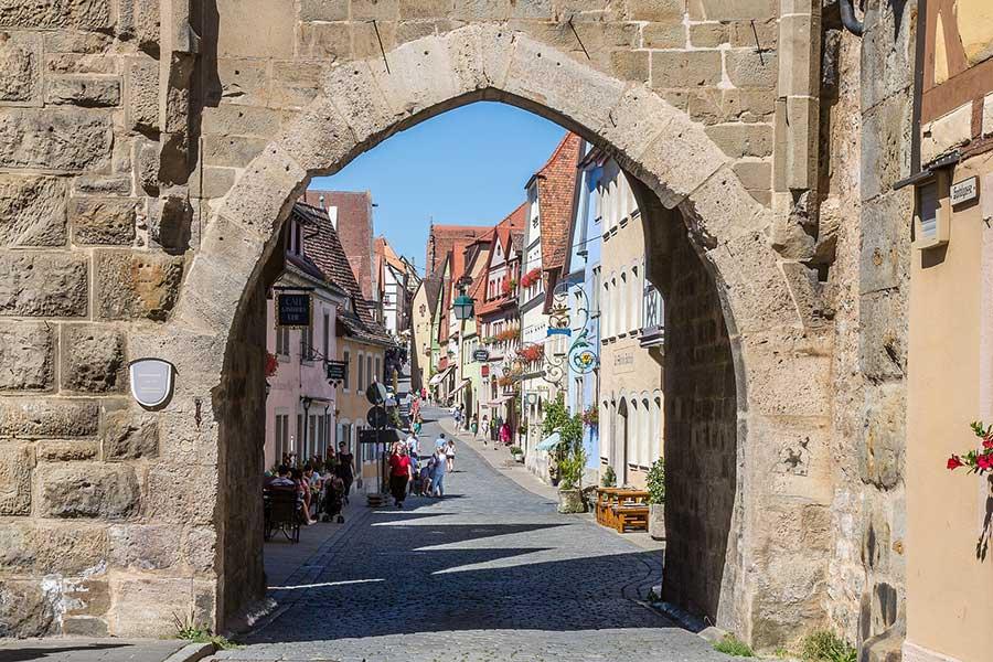mittelalterliche Häuser in der Altstadt von Rothenburg