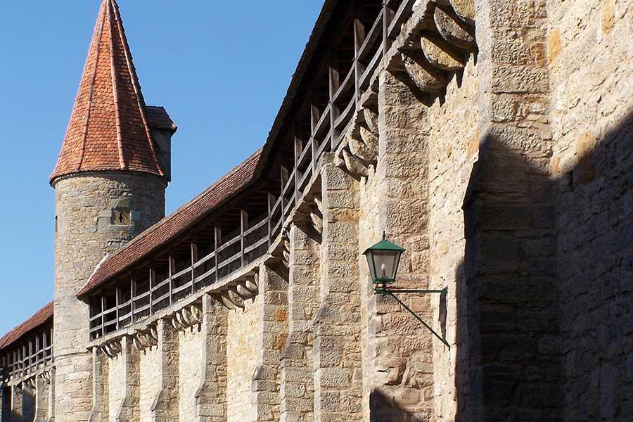 Stadtmauer an der Altstadt von Rothenburg