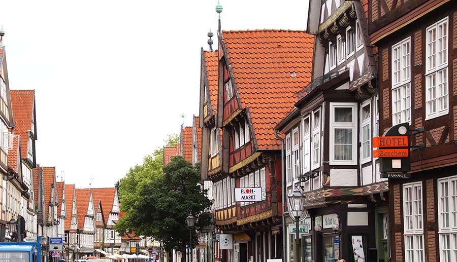 Schuhstraße mit Sehenswürdigkeiten in Celle